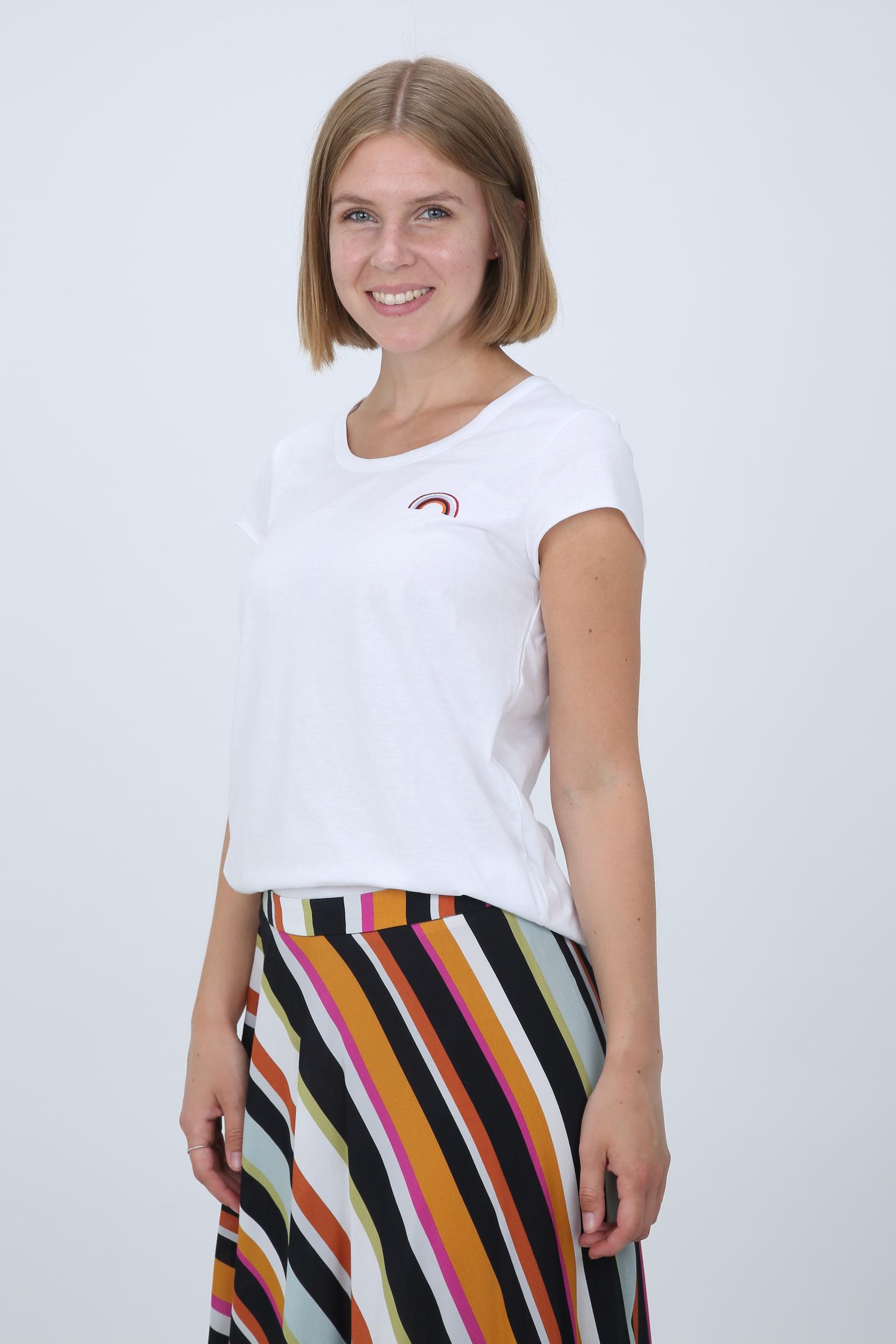 T-Shirt mit Regenbogen-Stickerei